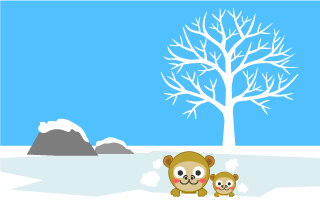 Monkey in hot spring Cartoon Picture