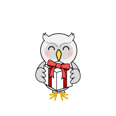 Giving Gift White Owl Cartoon