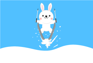 Ski jumping rabbit Cartoon Picture