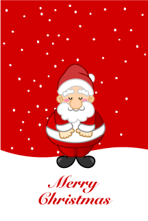 Christmas card of Santa Claus to bow