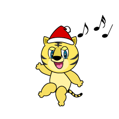 Santa Tiger Cartoon