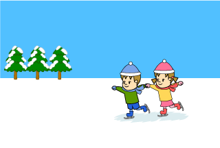 Children skating Cartoon Picture