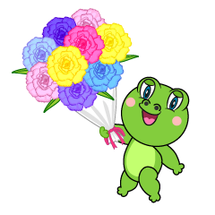 Frog Giving a bouquet Cartoon
