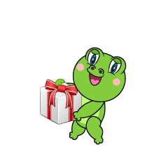Frog giving a gift Cartoon