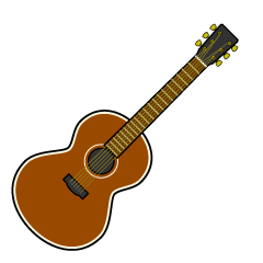 Brown Guitar Simple Clipart