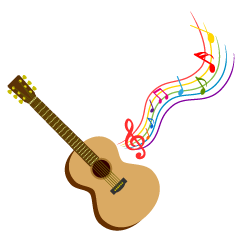 Guitar and Sheet Music Clipart