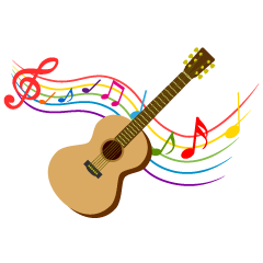Guitar and Colorful Note Music Clipart