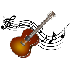 Guitar and Musical Note Waving Clipart