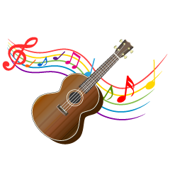 Ukulele and Waving Note Clipart
