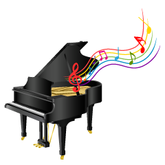 Piano and Music Sheet Clipart