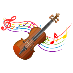 Violin and Music Note Waving Clipart