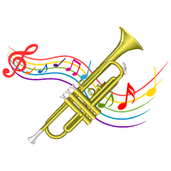 Trumpet and Music Tone Waving Clipart