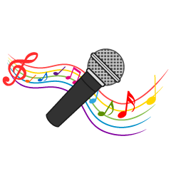 Microphone and Music Note Waving Clipart