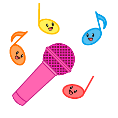 Microphone and Cute Note Clipart