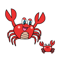 Crab Parent and Child Cartoon