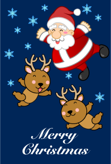 Flying Santa and reindeer Christmas card