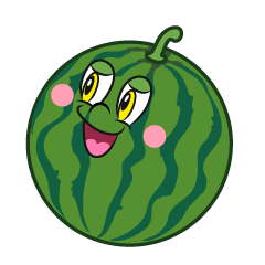 Watermelon Looking Up Cartoon