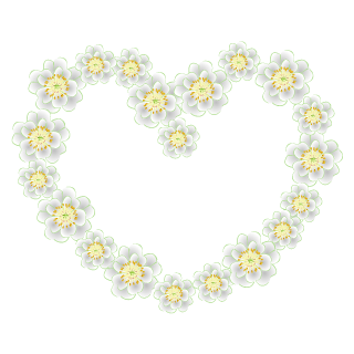 White Flower Wreath Heart Clipart
