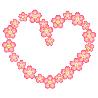 Pink Flower Wreath Heart Clipart