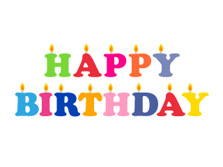Happy Birthday with Candles Clipart