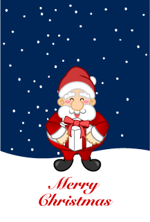 Christmas card of Santa Claus with a gift box
