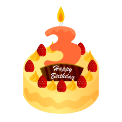 3 Years Old Candle Birthday Cake Clipart