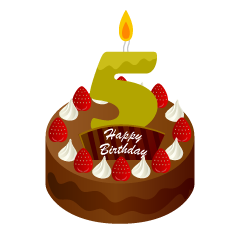 5 Years Old Candle Birthday Cake Clipart