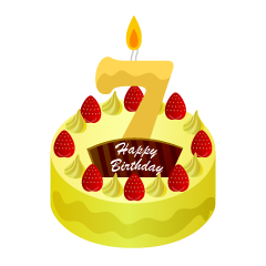 7 Years Old Candle Birthday Cake Clipart