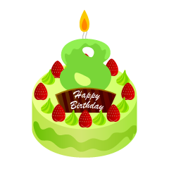 8 Years Old Candle Birthday Cake Clipart