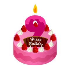 9 Years Old Candle Birthday Cake Clipart