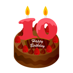 10 Years Old Candle Birthday Cake Clipart