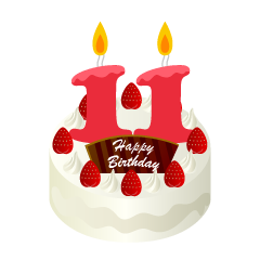 11 Years Old Candle Birthday Cake Clipart