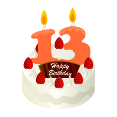 13 Years Old Candle Birthday Cake Clipart