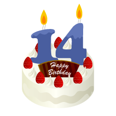 14 Years Old Candle Birthday Cake Clipart