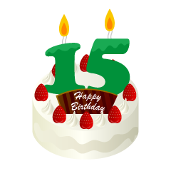 15 Years Old Candle Birthday Cake Clipart