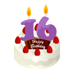 16 Years Old Candle Birthday Cake Clipart