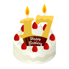 17 Years Old Candle Birthday Cake Clipart