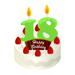 18 Years Old Candle Birthday Cake Clipart