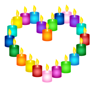 Candles Wreath Heart Clipart