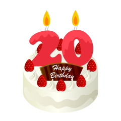 20 Years Old Candle Birthday Cake Clipart