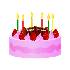 Strawberry Cream Birthday Cake Clipart
