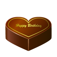 Chocolate Coated Heart Birthday Cake Clipart