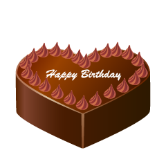 Chocolate Heart Birthday Cake Clipart