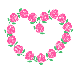 Pink Rose Wreath Heart Clipart
