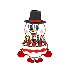 Snowman with Birthday Cake Cartoon