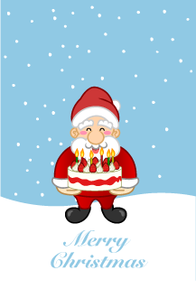 Christmas card of Santa Claus with cake