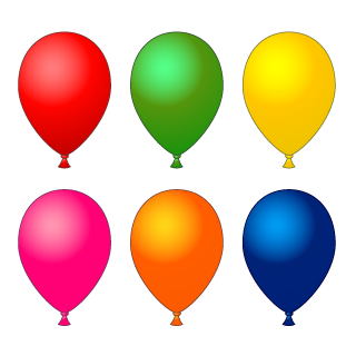 6 color balloons Clipart