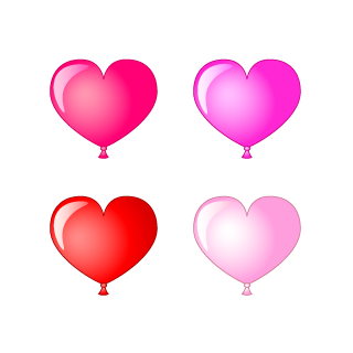 4 color heart balloons Clipart