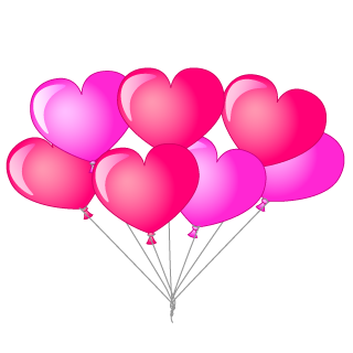 Bunch of Heart Balloons Clipart