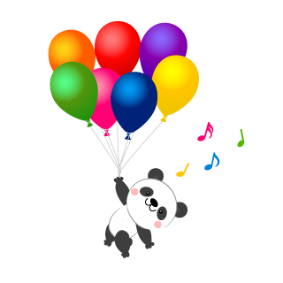 Panda flying in the balloon Cartoon